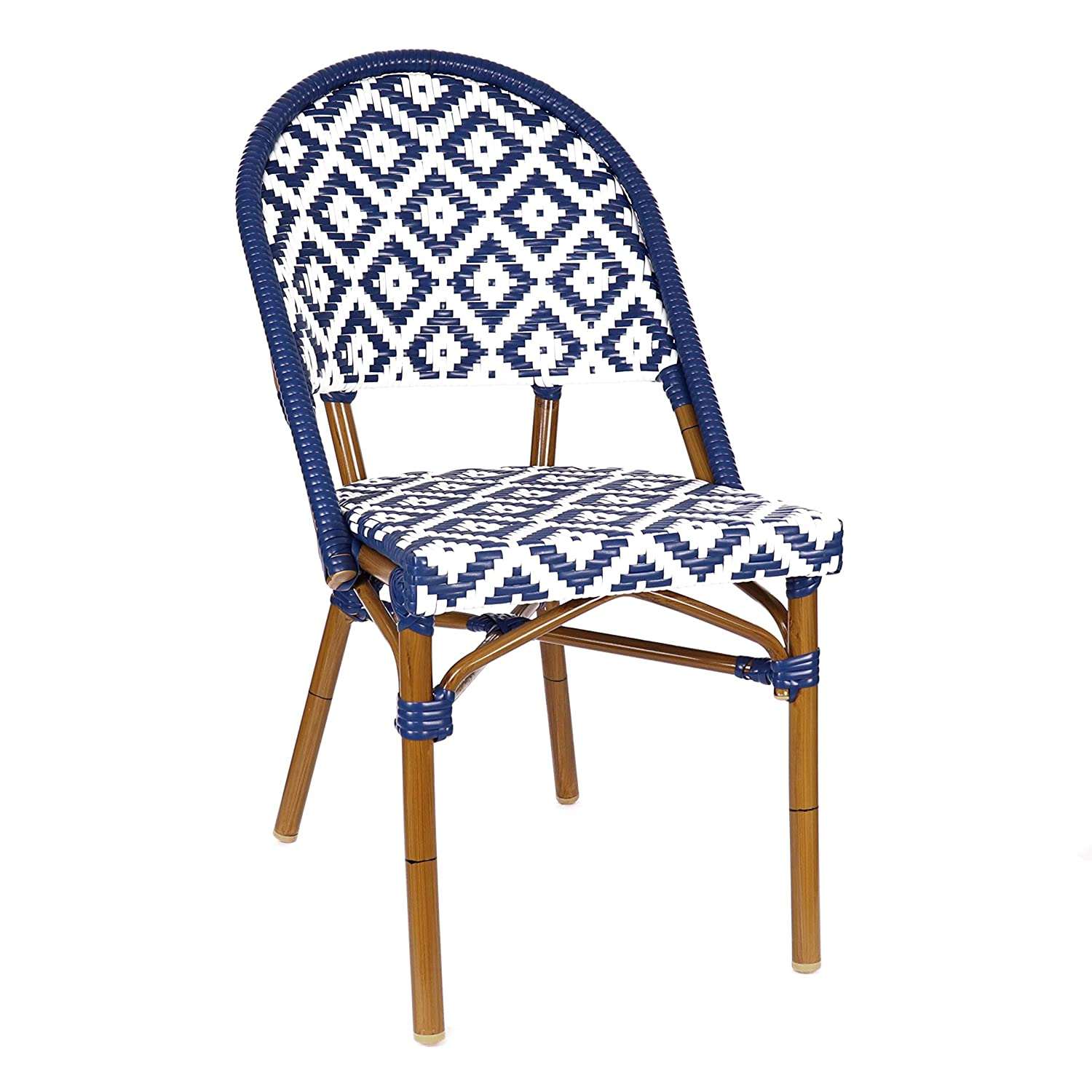 Blue and white aluminum bamboo bistro Paris cafe dining chair.