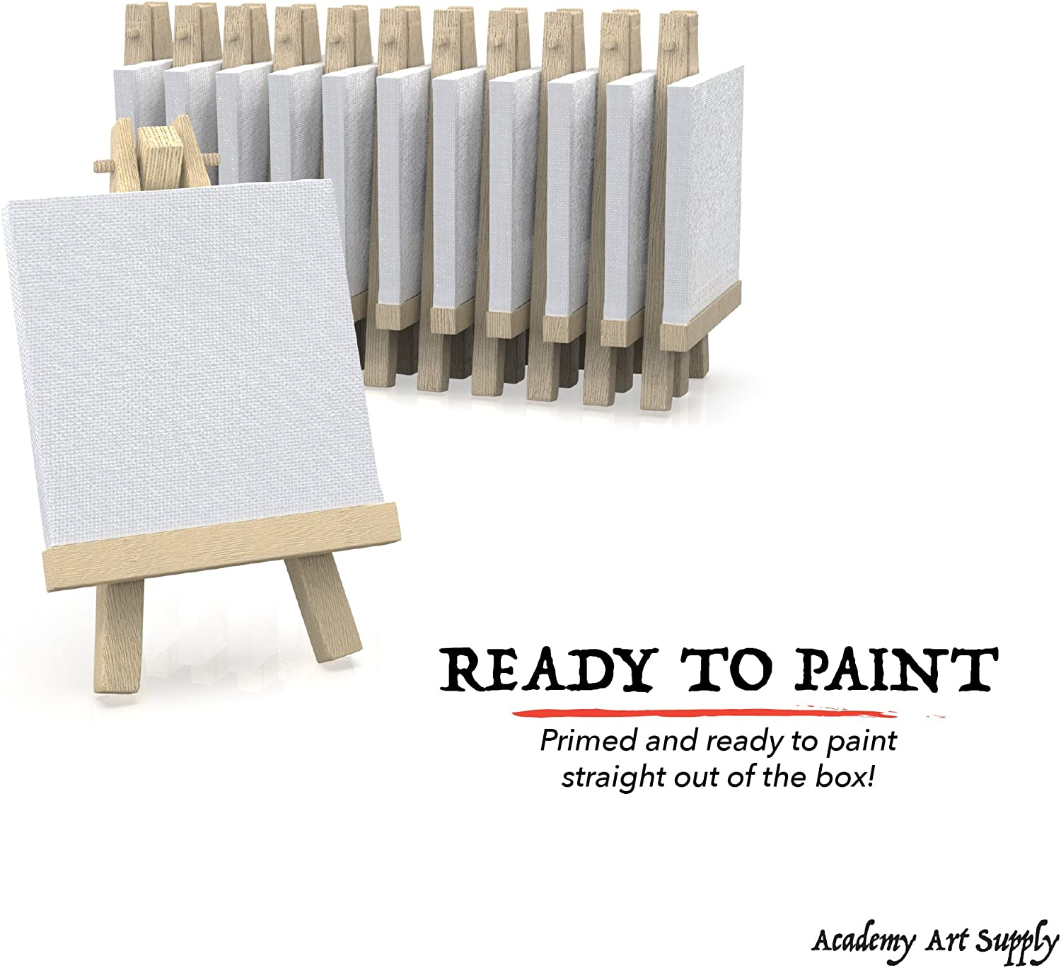12 Pack 3x3 Canvas for Painting with Easel Academy Art Supplies