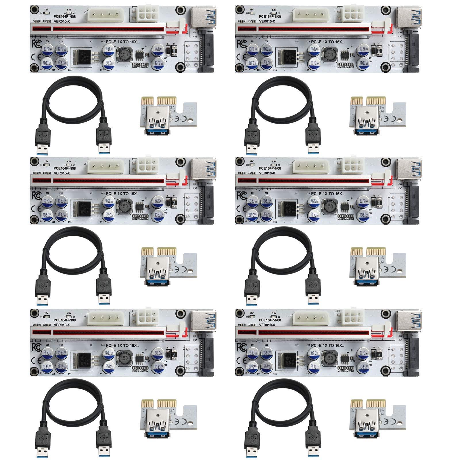 6 Pci-e Riser VER 010S-X Cripto mineria Con Cable SATA BEYIM
