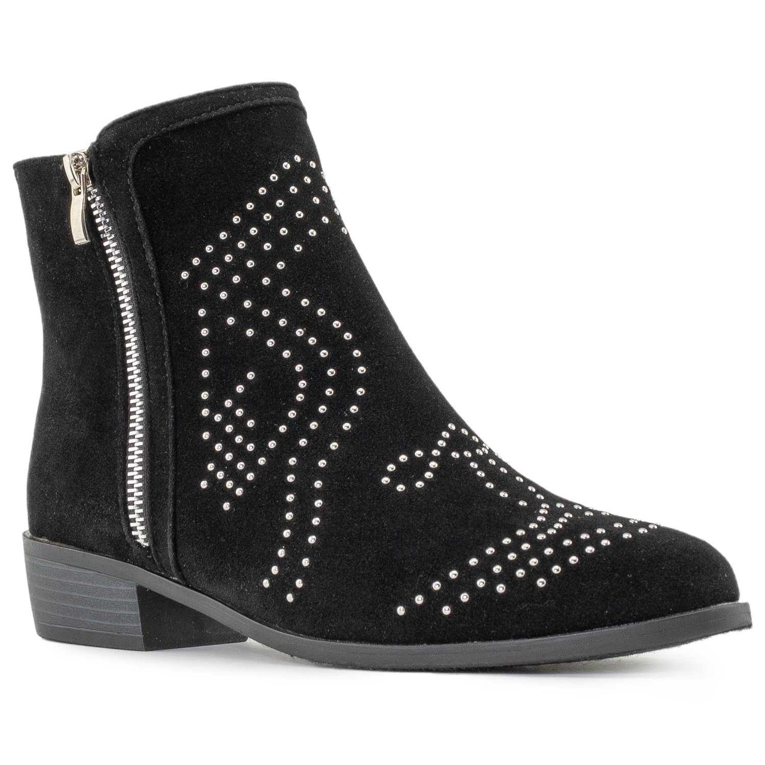 RF ROOM OF FASHION Women's Western Style Studded Almond Toe Stacked Heel Side Zipper Ankle Boots Black SU (8.5)