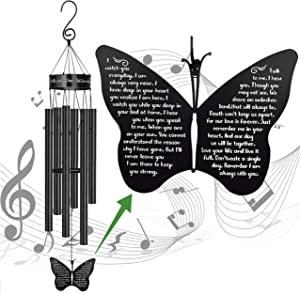MEMGIFT Memorial Butterfly Wind Chimes for Loss of Father Mother Wife Bereavement Sympathy Gift of Love One Mom Dad Daughter Outdoor Large Chimes for Patio Garden Porch Yard Black