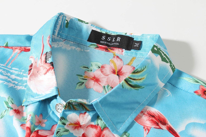 SSLR Uomo Camicie in Manica Corta Aloha Hawaiana Casual Stile Floreale Fenicottero