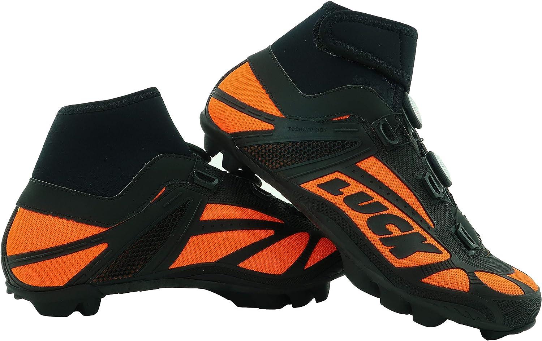 LUCK Zapatillas de Ciclismo para Invierno Winter Naranja MTB, con Suela de Carbono SHD, y Doble Sistema rotativo de precisión. (37 EU): Amazon.es: Deportes y aire libre