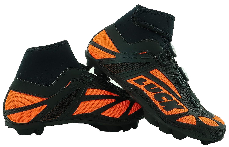 LUCK Zapatillas de Ciclismo para Invierno Winter Naranja MTB y Doble Sistema rotativo de precisi/ón. con Suela de Carbono SHD