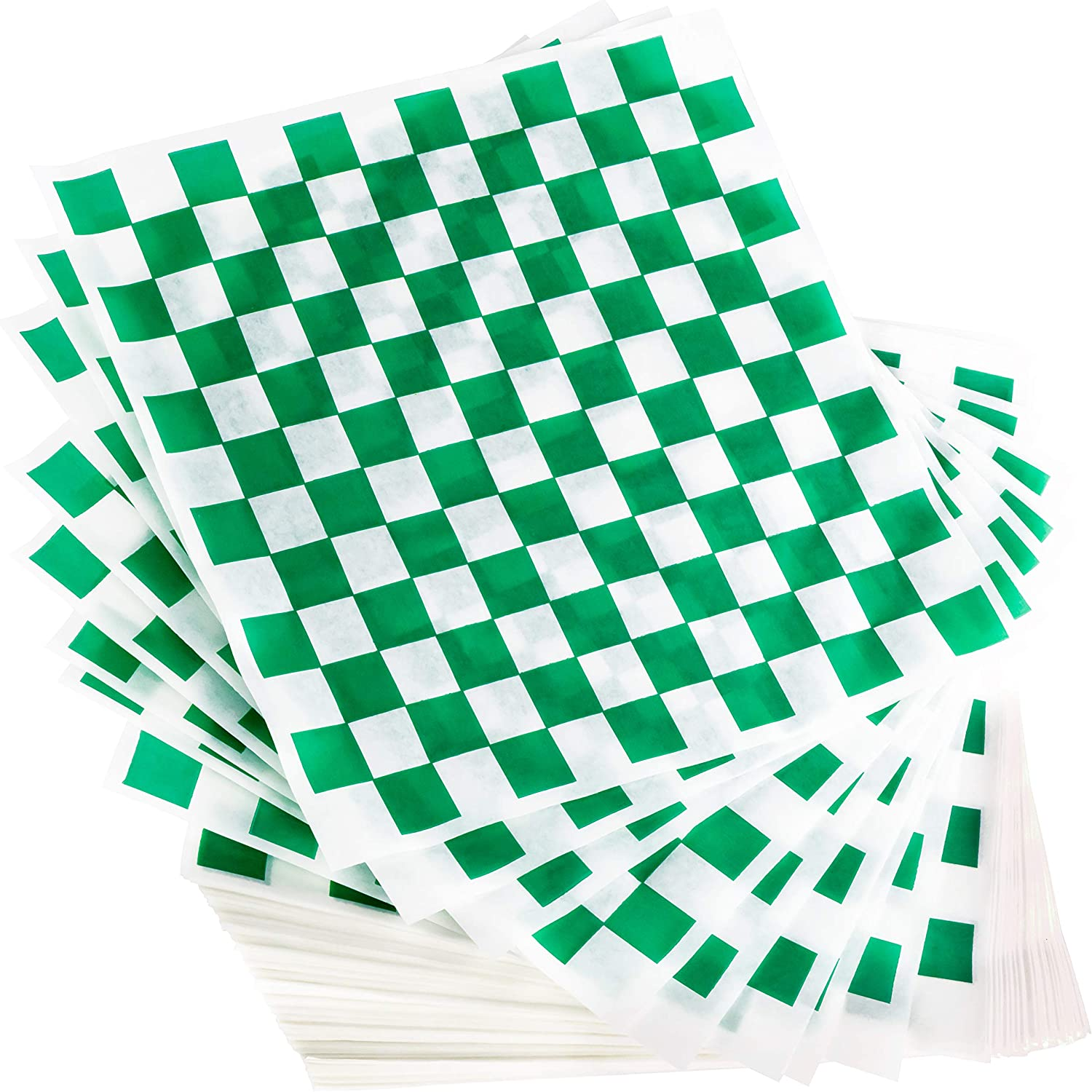 Avant Grub Deli Paper 300 Sheets. Turn Your Backyard Cookout Party into a Special Event with Green & White Checkered Food Wrapping Papers. Grease-Resistant 12x12 Sandwich Wrap Prevents Food Stains!