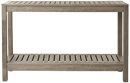 Cambridge-Casual Solid Hardwood West Lake Outdoor Console Table, Weathered Grey
