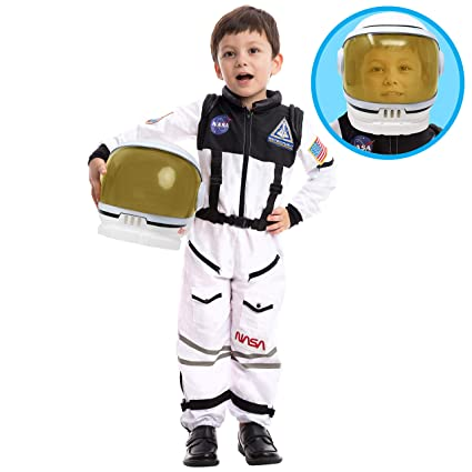 Astronaut NASA Pilot Costume with Movable Visor Helmet for Kids, Boys,  Girls, Toddlers Space Pretend Role Play Dress Up, School Classroom Stage