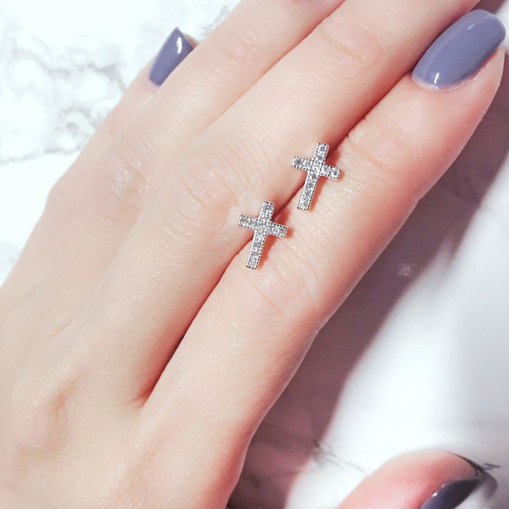 Spoil Cupid Rhodium-Plated Sterling Silver Cubic Zirconia Classic Mini Cross Stud Earrings
