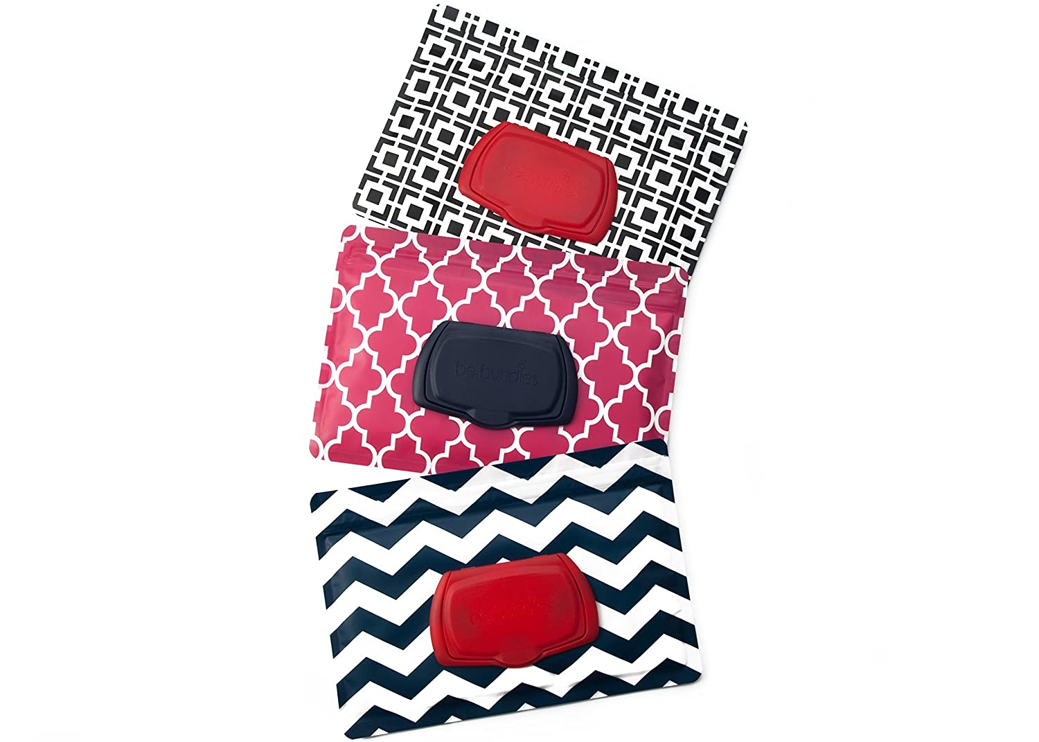 Be Bundles Wet Wipes Pouch VERSION 2 - NEW replacement snap-on lid included, 3-Pack, Green Herringbone/Navy Chevron/Black Geometric - VINYL FREE (EVA and PVC)!!