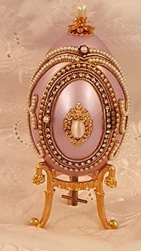 Handmade Faberge Egg Style ONE ONLY Russian Musical Foto Frame Jewerly Ring Box Authentic Goose Egg Artistically Handcrafted Simulated Diamonds Embellished 24kt Gold 5.9 x 2.8 by Pierre Lorren