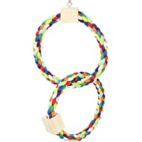 Bonka Bird Toys 1677 Twin Rainbow Rope Swing Bird Toy Parrot cage Cages African Grey Conure (Twin Rainbow Ring)