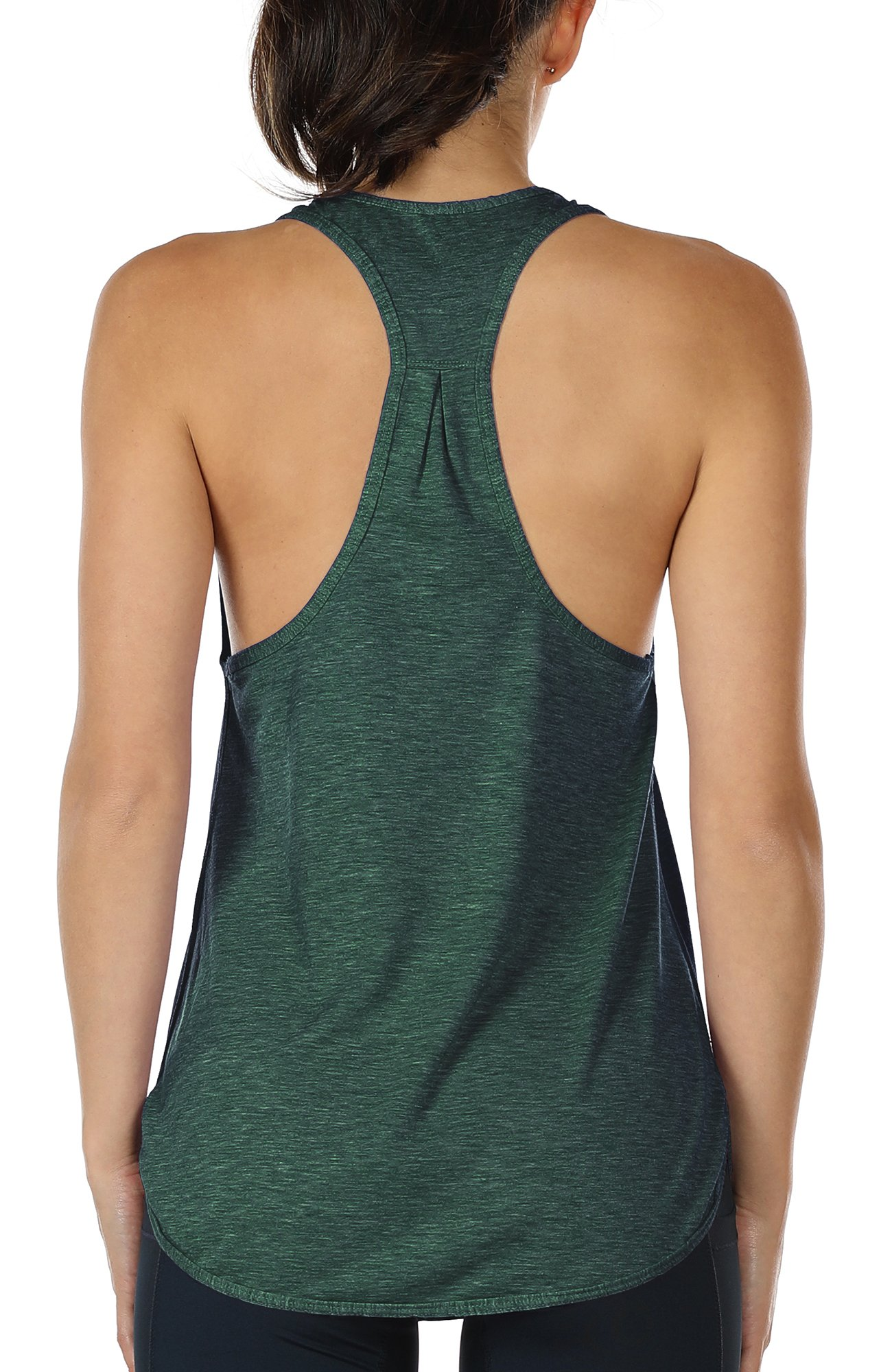 icyzone Workout Tank Tops Women - Athletic Yoga Tops, Racerback Running Tank Top (M, Army)