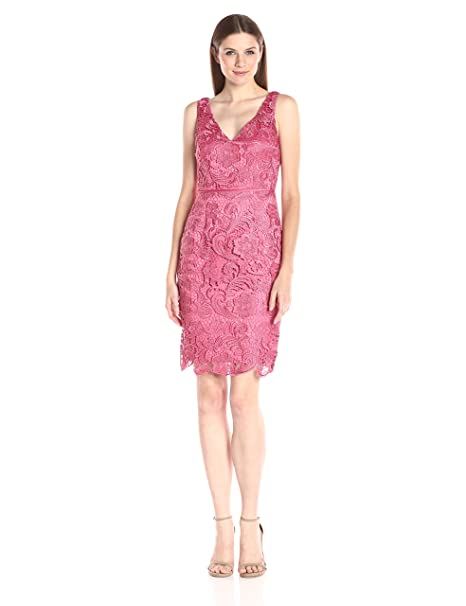Adrianna Papell Womens Guipure Lace Sheath Dress