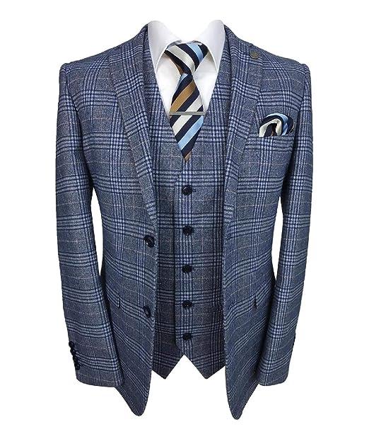 Amazon.com: Paul Andrew Victor traje formal de tweed azul a ...