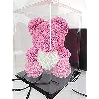 Blumenhandel Nadir Gezer Künstliche Rosenbären mit Herz 40cm inklusive Geschenkbox - Rose Bear with Heart 40 cm incl. giftbox - Flower Teddy