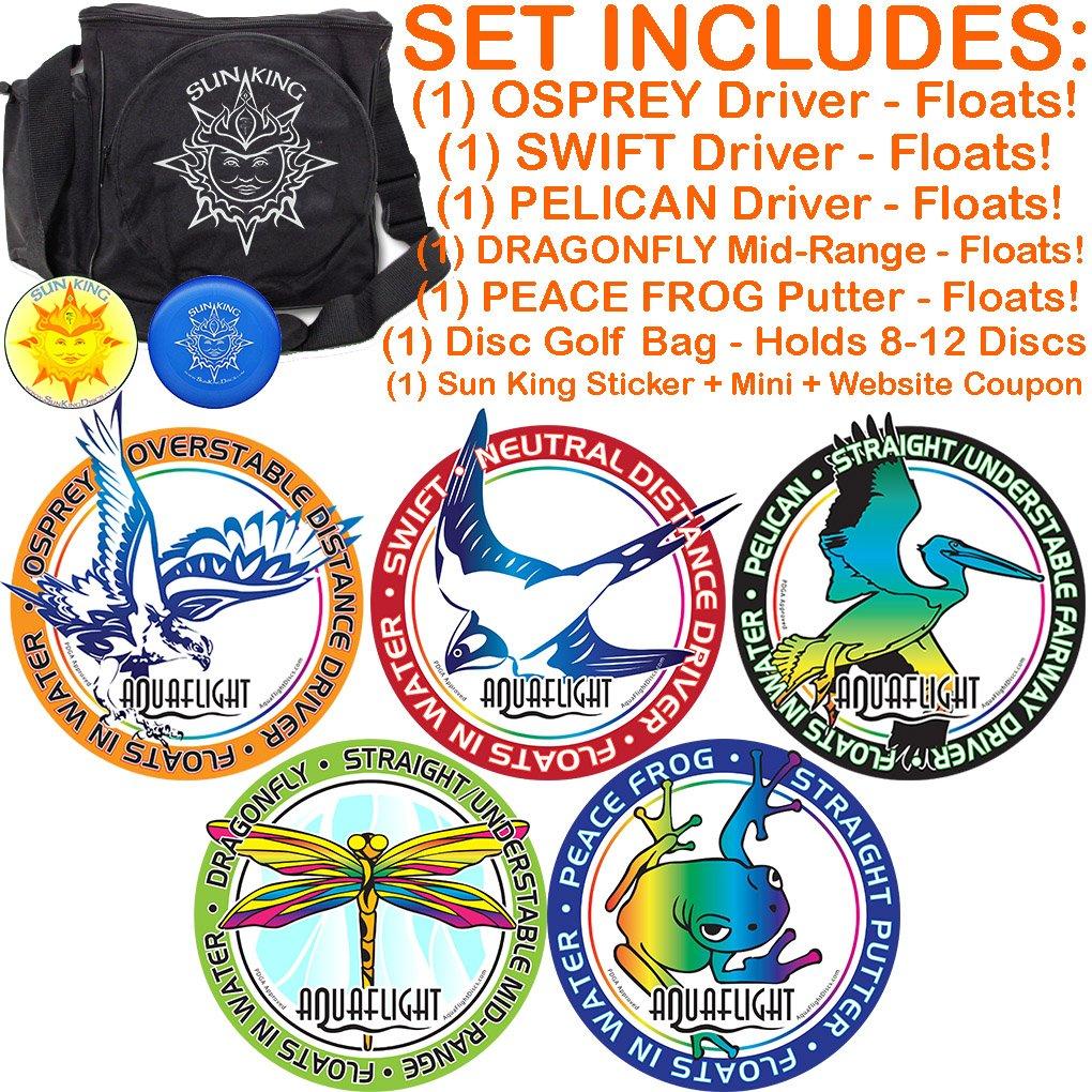 AquaFlight Premium Disc Golf Starter Set (5 Discs + Bag - Floats in Water!)