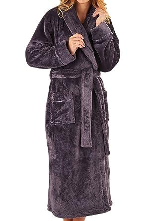 df32d9cdbf304 Slenderella Ladies Super Soft Thick Fleece Dressing Gown Luxury Shawl  Collar Bath Robe Large (Grey