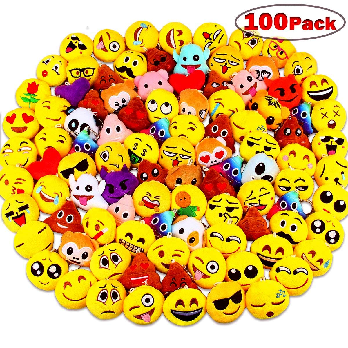 Emoji Party Supplies, Dreampark Emoji Keychain 100 Pack Mini Emoji Plush Pillows for Kids Birthday Party Favors/Easter Eggs Fillers, 2'' Set of 100