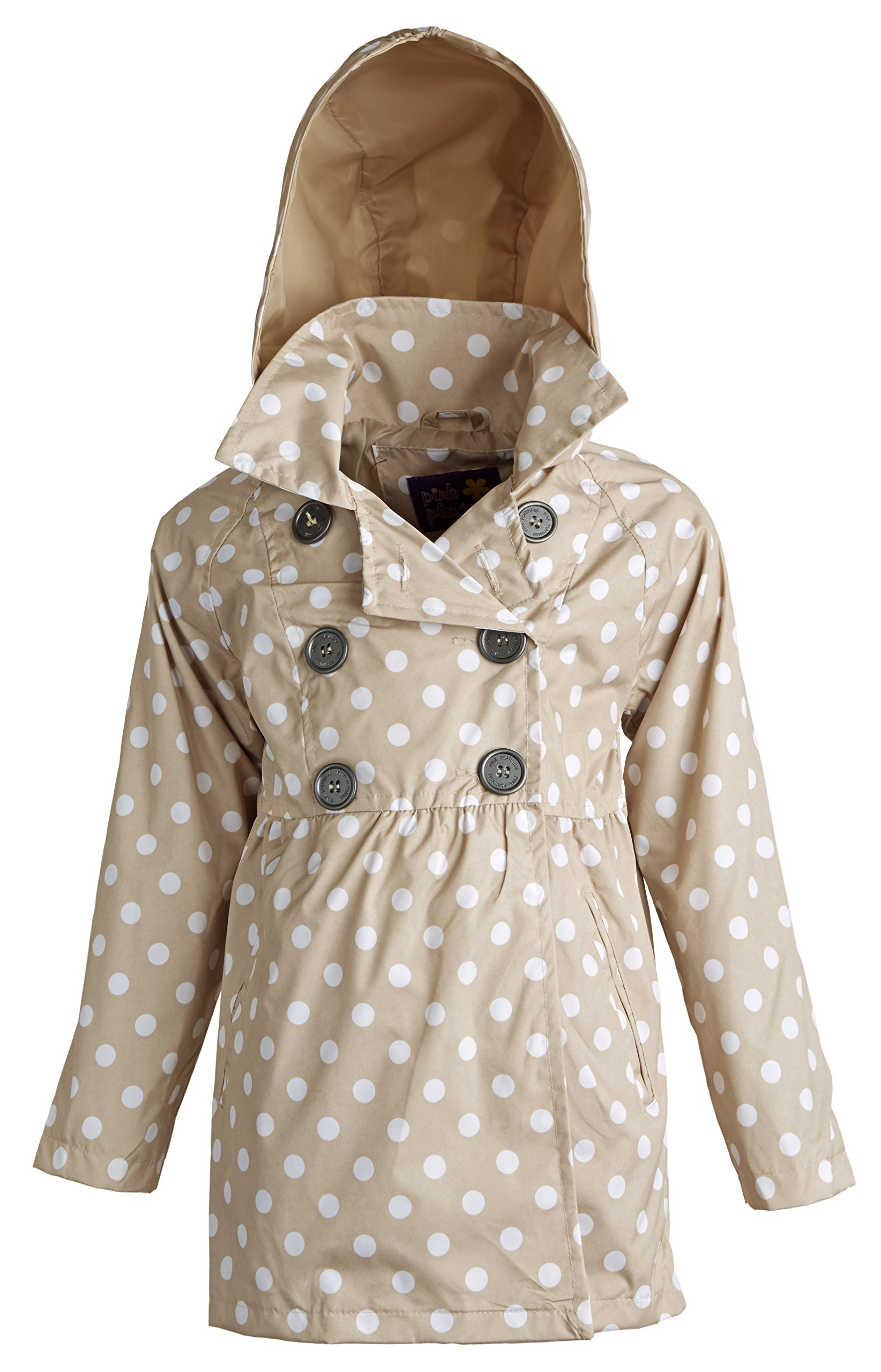 Pink Platinum Little Girls Double Breasted Polka Dot Waisted Spring Trench Coat - Khaki (Size 4) by Pink Platinum (Image #1)