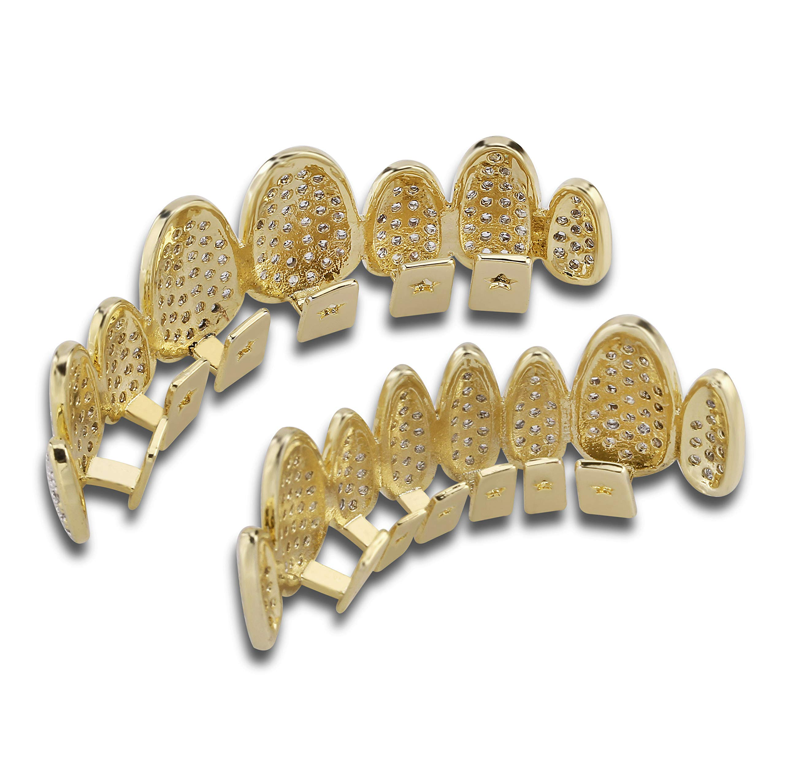 TOPGRILLZ 18K Gold Plated Iced Out Simulated Diamond Grillz Top and Bottom Grills for Your Teeth with Extra Molding Bars Hip Hop (Gold Set) by TOPGRILLZ (Image #5)