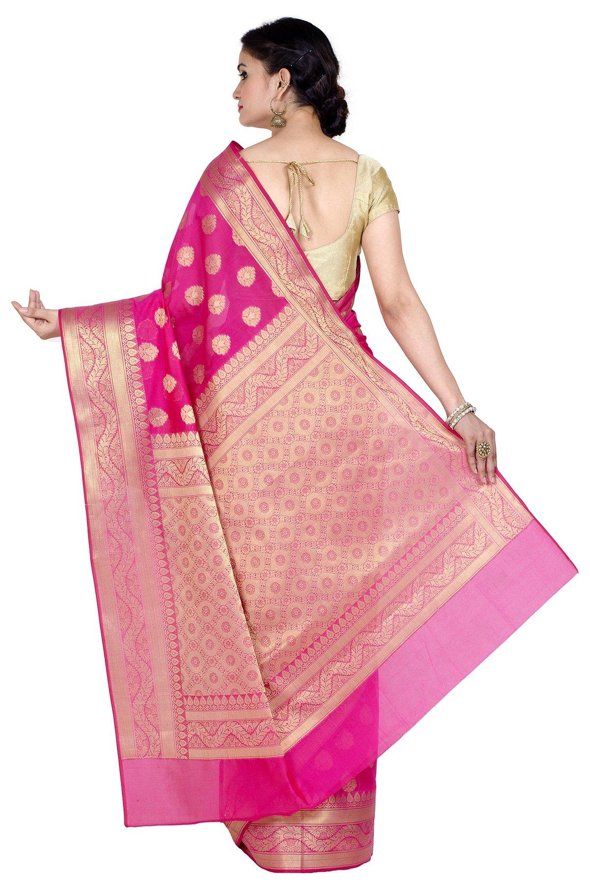 Chandrakala Women's Cotton Banarasi Saree Free Size Pink by Chandrakala (Image #2)
