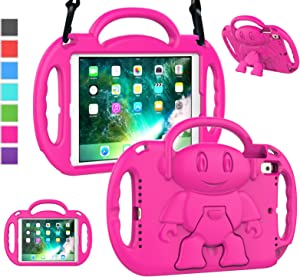 LTROP iPad 6th Generation Case for Kids, iPad 9.7 Case 2018/ 2017, iPad Air 2 Case - Shockproof Light Weight Shoulder Strap Handle Stand Kids Case for 9.7