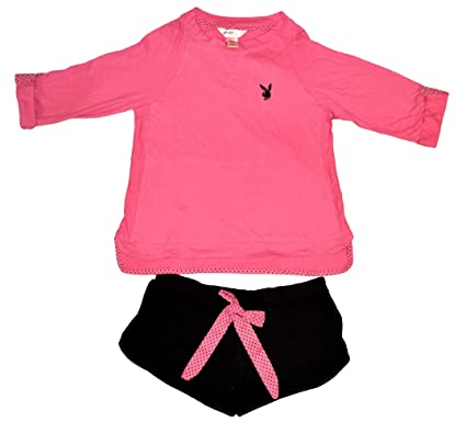 eb05fafcaad8 Playboy Intimates Sleepwear - Shorts and 3/4 Sleeve Top - Black/Pink Size:  Large at Amazon Women's Clothing store: