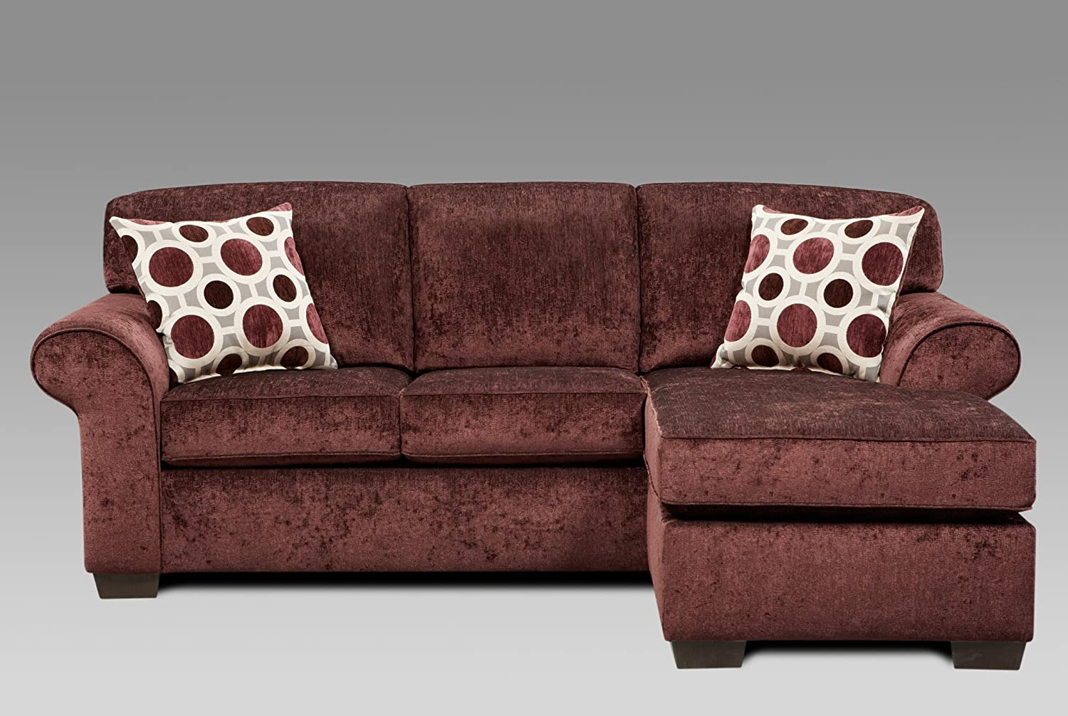 Amazon.com: Roundhill Furniture Fabric Sectional Sofa With 2 Pillows, Prism  Elderberry: Kitchen U0026 Dining