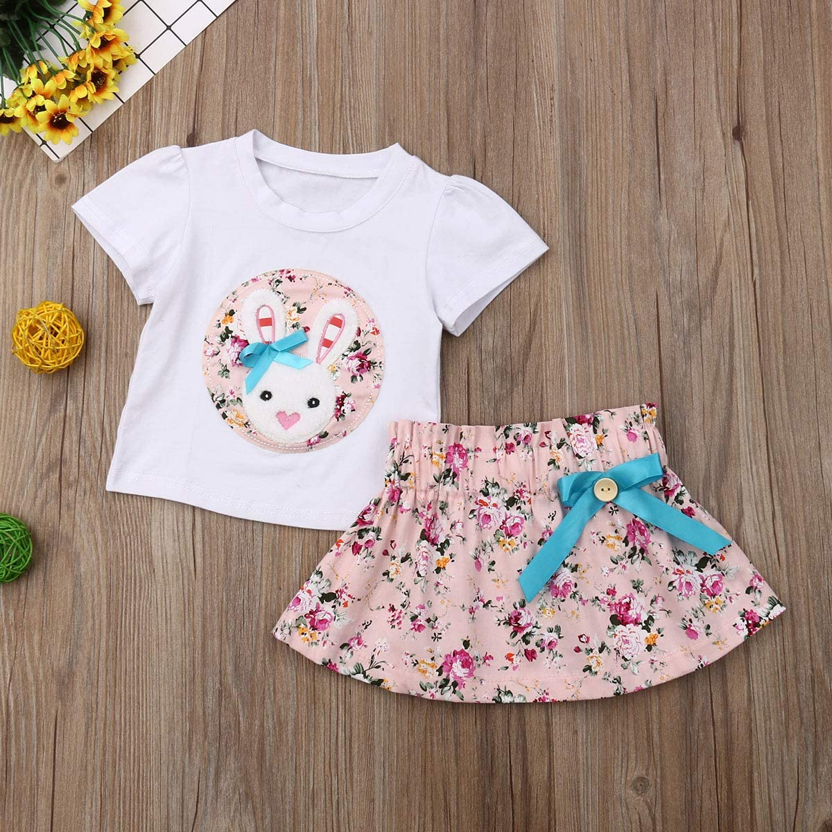 Kids Toddler Baby Girl Short Sleeve Bunny T-Shirt Tops Bowknot Floral Skirt Summer Outfit