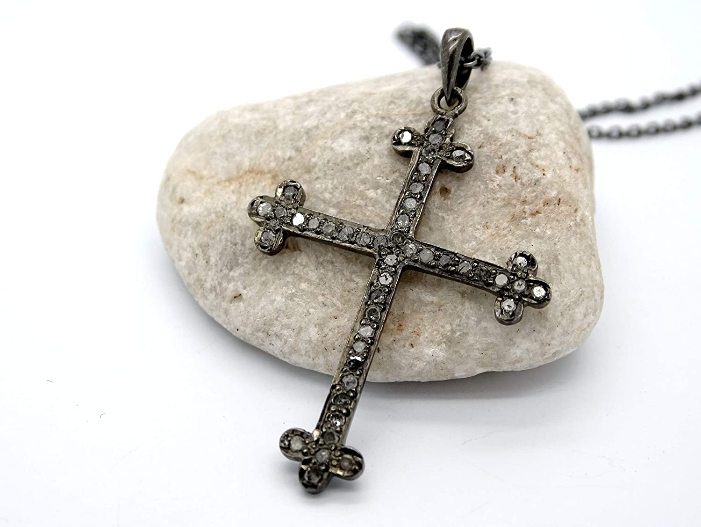 Amazon Com Black Cross Pendant Diamond Pendant Black Silver Diamond Cross Pendant Rustic Cross Necklace For Men Unique Cross Pendant Gift For Women Handmade
