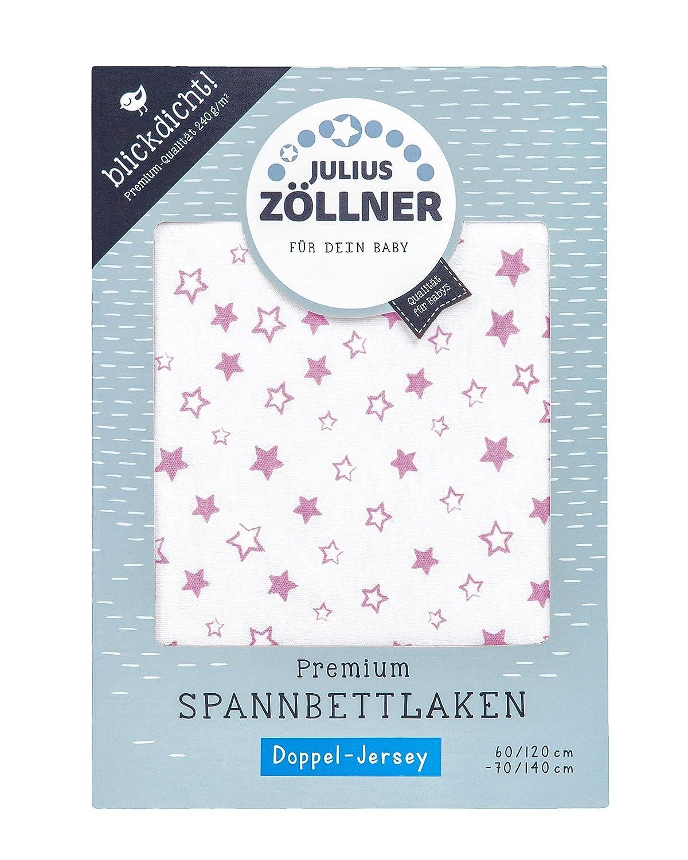 Julius Zöllner 8356157100 Jersey Spanntuch Premium, blickdicht, aus Jersey Doppeltuch, passend für Kinderbetten 60x120 und 70x140 cm, weiß weiß