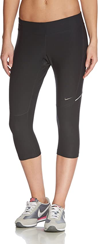 Destino chisme Abstracción  Nike Women's Dri-Fit Filament Capri - Black/Matte Silver, Small:  Amazon.co.uk: Clothing