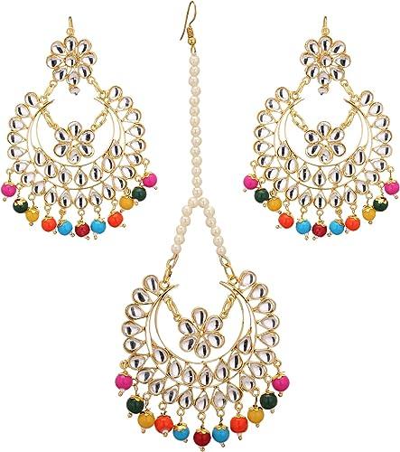 Jwellmart Indian Bridal Wedding Collection Jadau Style Maang Tikka Earrings Set for Women and Girls