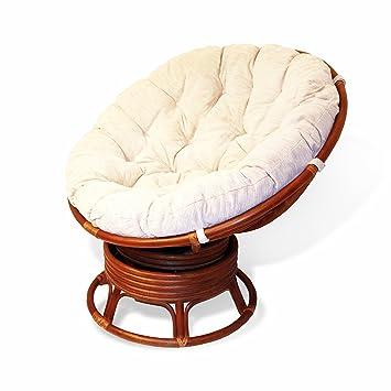 Rattan Wicker Swivel Rocking Round Papasan Chair With Cushion Colonial  (Light Brown)