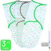 Swaddle Blanket, Baby Swaddle Wrap Sack for Infant (0-3 Month), Adjustable Newborn Swaddle Set, 3 Pack Soft Cotton with Bonus Pacifier Clip (Green/Grey)