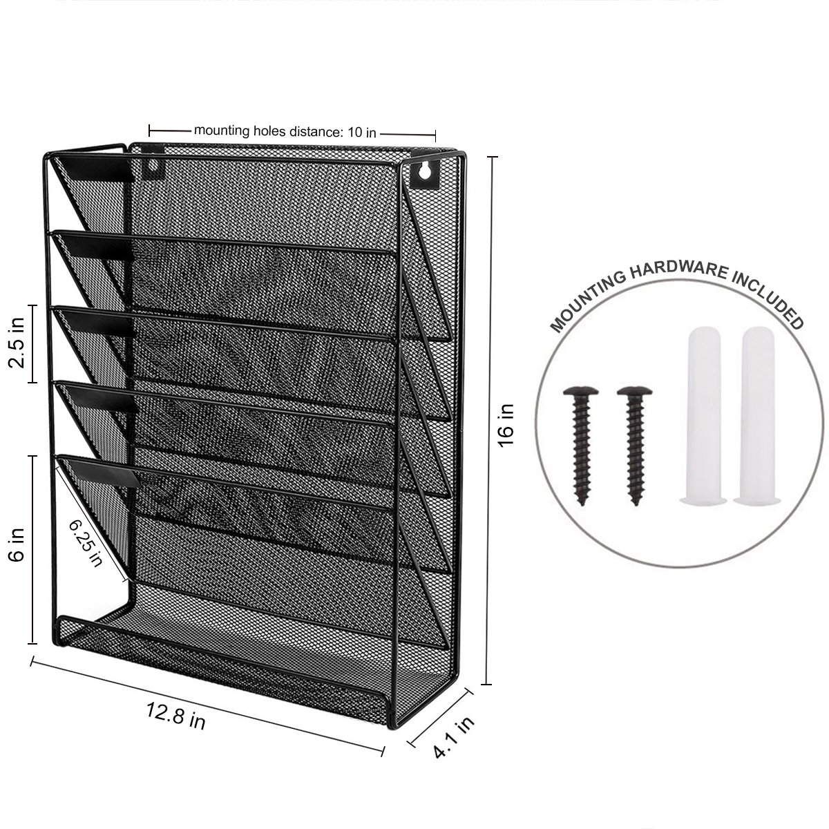 Wall Hanging File Holder Organizer for Office Home, 5-Tier Black Metal- Yuugen Products by Yuugen Products (Image #2)