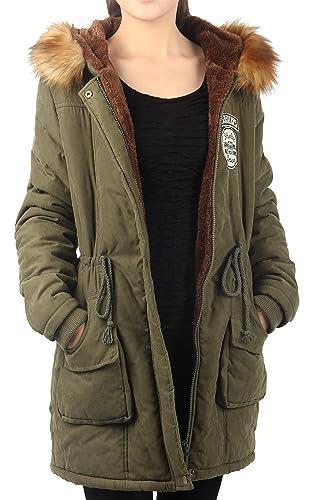 iLoveSIA Abrigo de invierno para mujer, estilo parka, capucha con borde de pelo sintético