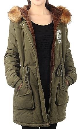 iLoveSIA Womens Parkas Coats Faux Fur Lined Overcoats Jackets ...