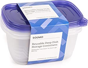 Amazon Brand - Solimo Plastic Food Storage Containers with Lids (18 Pack) - BPA-Free, Safe for Dishwasher, Microwave, Freezer - Deep Dish 64 oz.