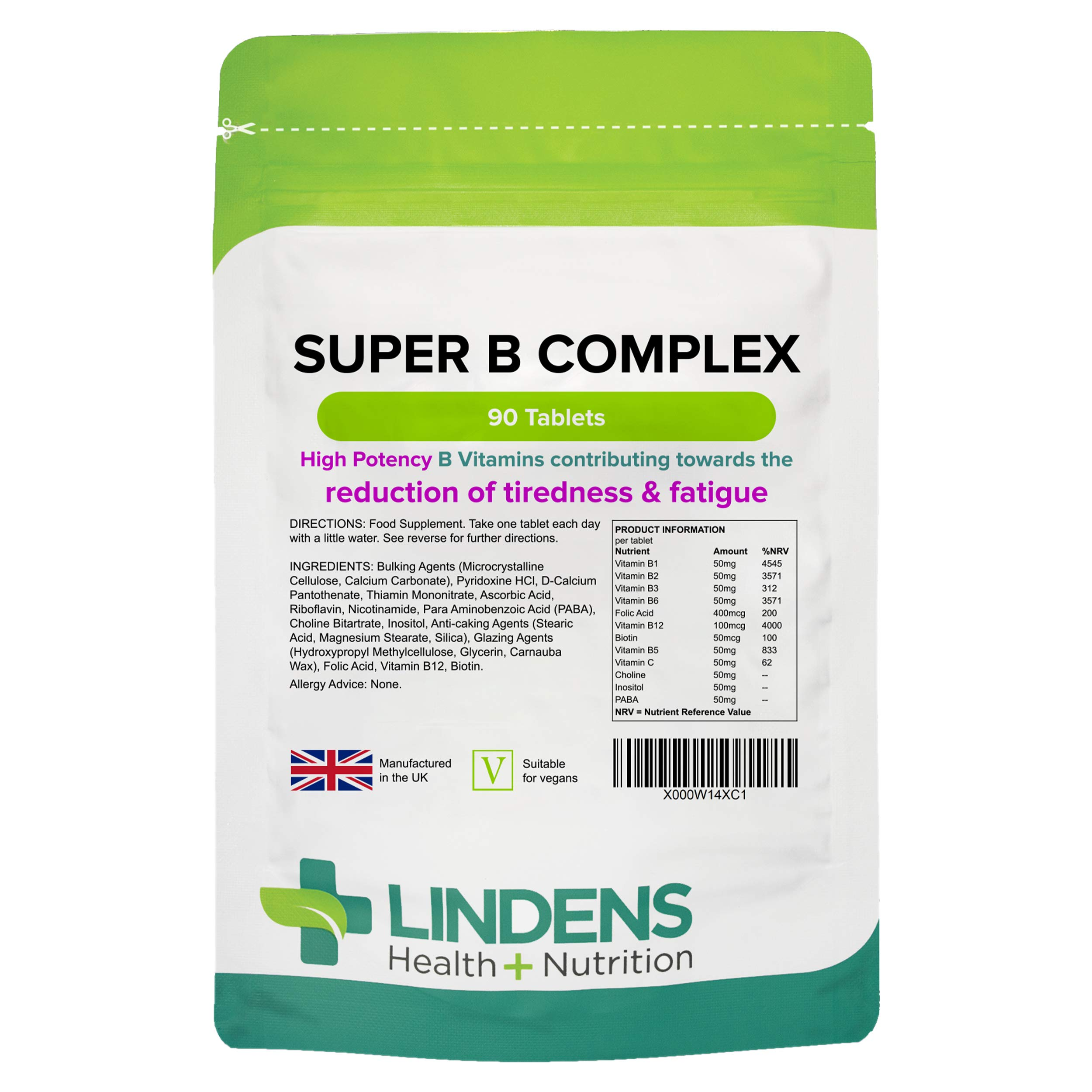 Lindens Super B Complex Vitamin Tablets with a Full Spectrum of B Vitamins and Vitamin C - Reduces Tiredness and Fatigue - 90 Tablets