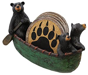 Old River Outdoors 3 Black Bears Canoeing Coaster Set - 4 Coasters Rustic Cabin Green Canoe Cub Decor