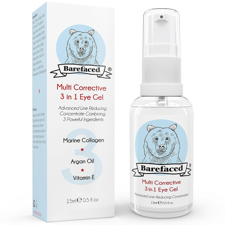 Eye Cream for Dark Circles & Puffiness - Natural Gel Treatment With Marine Collagen, Argan Oil & Vitamin E BeBarefaced Ltd.