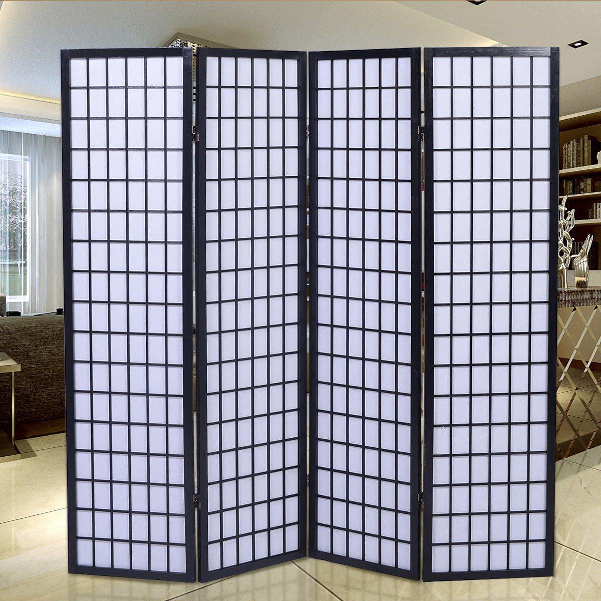 Giantex 4-Panel Room Divider Solid Shoji Wood Folding Privacy Screen Black