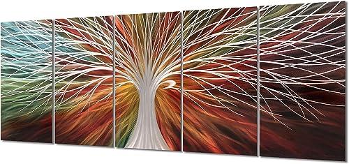 Yihui Arts Multi-Colored Tree Metal Wall Art