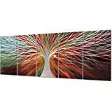 Yihui Arts Multi-Colored Tree Metal Wall Art, 3D Wall Art for Modern and Contemporary Decor, Decorative Hanging in 5-Panels M