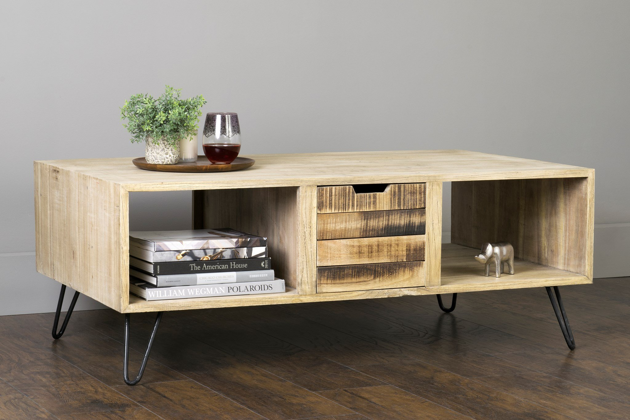 """East At Main Omega Brown Mindi Wood Rectangular Coffee Table, (28"""" L x 48"""" W x 18"""" H) - Dimensions: (28"""" L x 48"""" W x 18"""" H) Hand-Crafted using Mindi Wood This Transitional style coffee table will accent any room - living-room-furniture, living-room, coffee-tables - 81f3DBgBpiL -"""