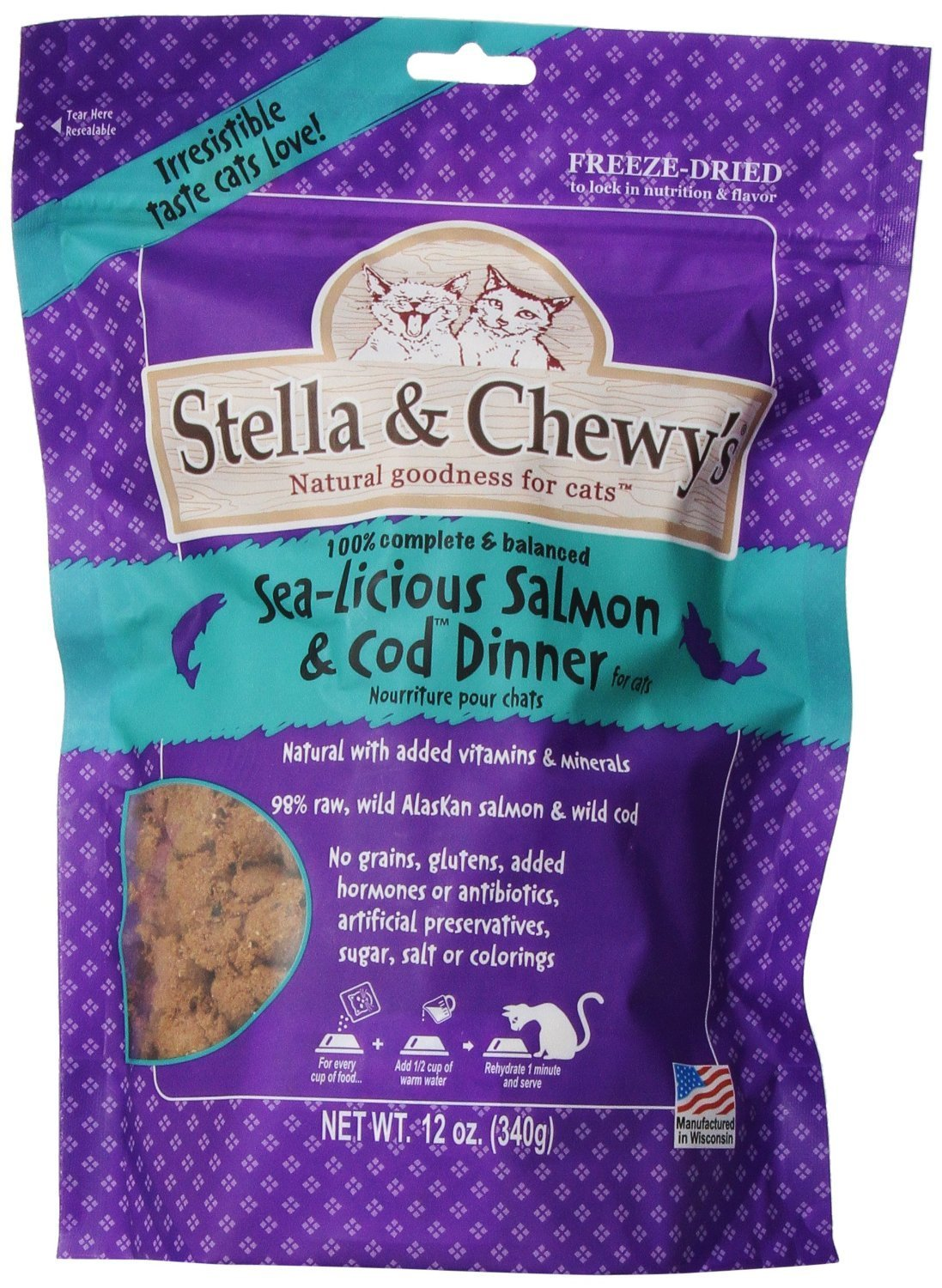 Stella & Chewy's Freeze Dried Salmon/Cod Food for Cat, 12 Ounce(2Pack)