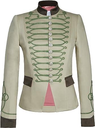 Chaqueta Blazer de Mujer Estilo Militar Beige Detalles Kaki 100 ...