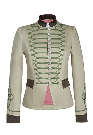 Chaqueta Blazer de Mujer Estilo Militar Beige Detalles Kaki 100% Hecha en España Edicion Limitada… (Beige, 46)