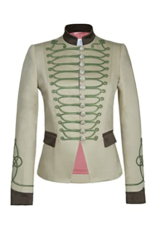 Chaqueta Blazer de Mujer Estilo Militar Beige Detalles Kaki 100% Hecha en España Edicion Limitada